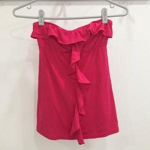 Hollister pink strapless ruffle top